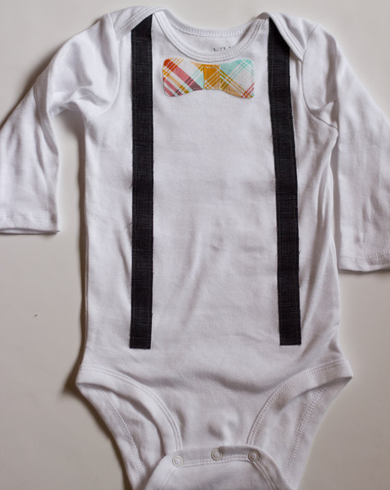 Bow tie and Suspender onesie for Easter