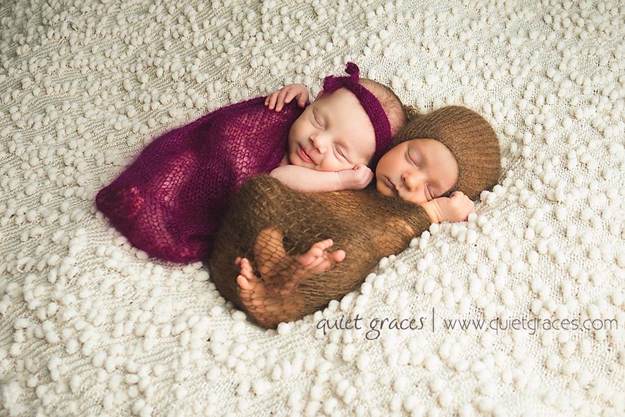 Smiling Twin Newborn Baby Photographer Simpsonville SC