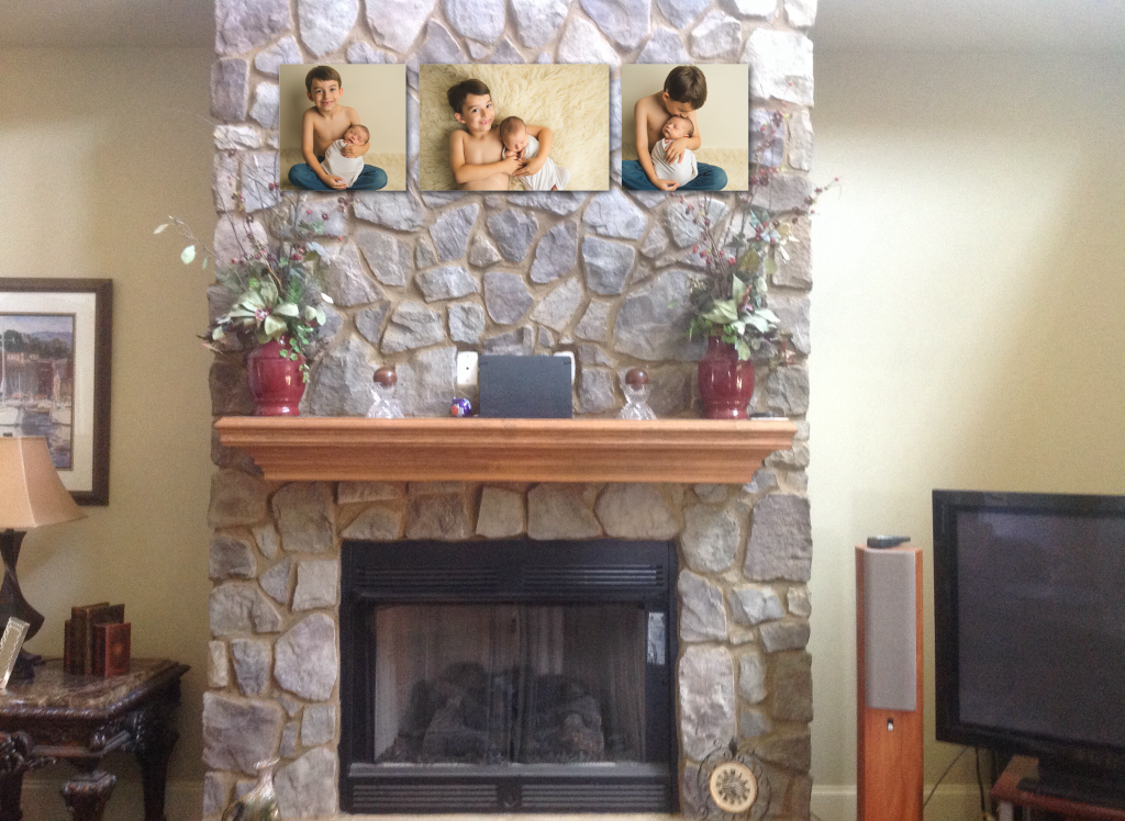 Newborn Pictures Canvas Fireplace Mantle Greenville SC