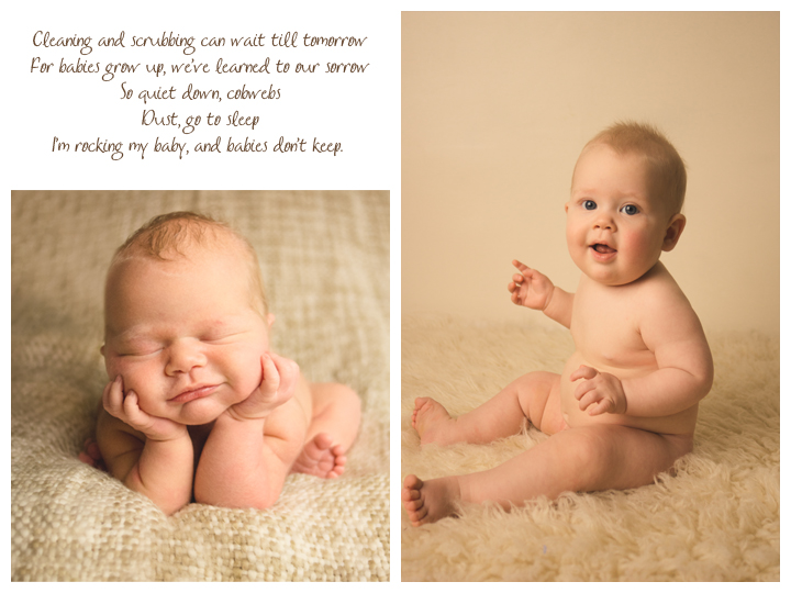 Babies don't keep poem with a sweet baby at newborn and 6 months