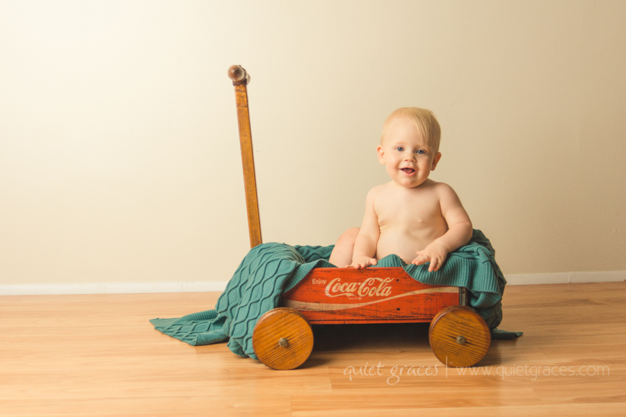 Baby Boy in a wagon in Greenville SC One Year old photography
