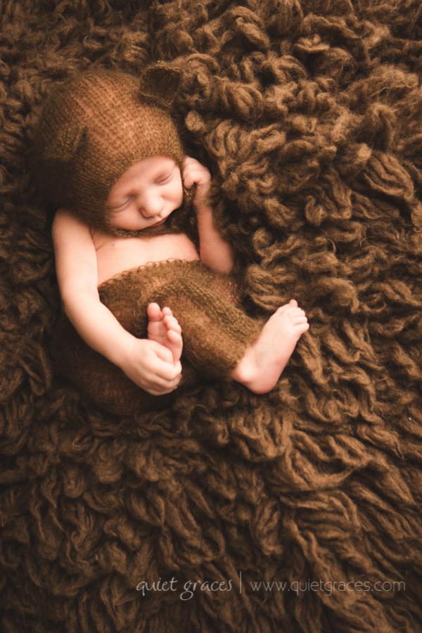 Greenville SC Tiny Newborn Photography Boy in Bear Hat