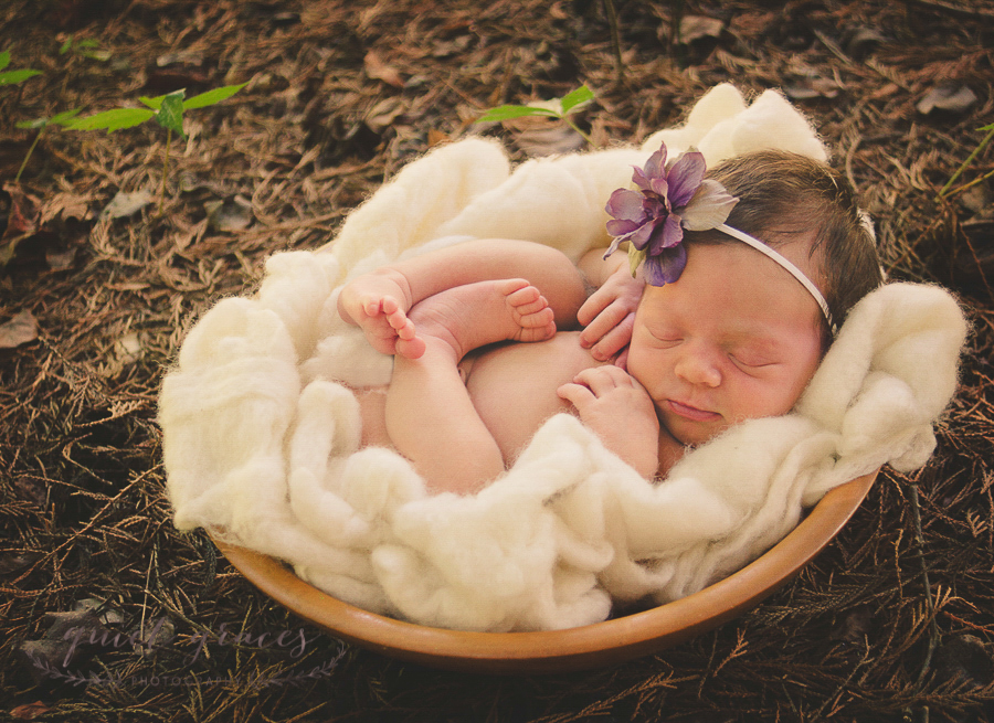 Outside Newborn Photography Greenville SC Baby in a Bowl by Quiet Graces Photography
