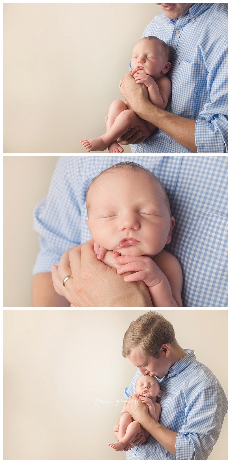 Newborn Baby in Daddy's Hands Pictures Greenville SC