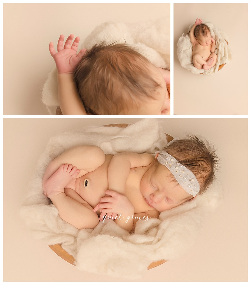 Newborn Baby girl in a bowl pictures greenville SC