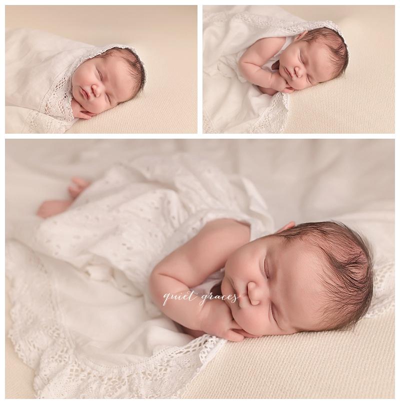 Newborn Baby girl in heirloom dress greenville sc