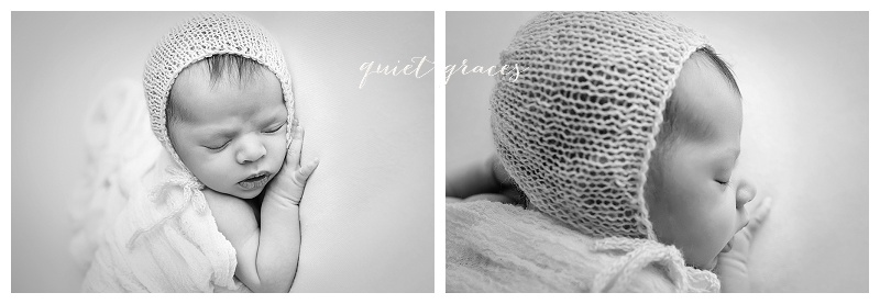 Black and white newborn photography greenville sc