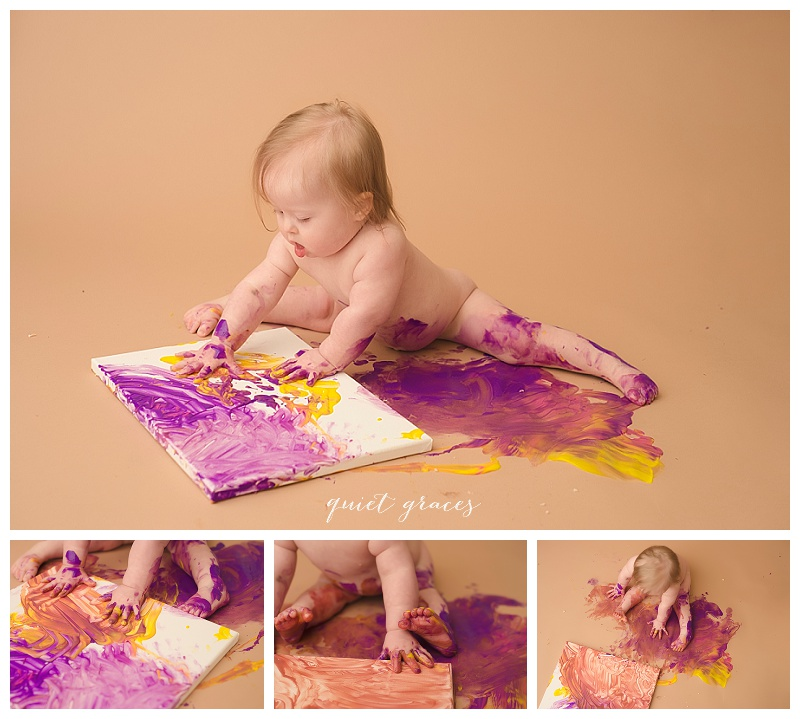 One year old painting photography Greenville SC