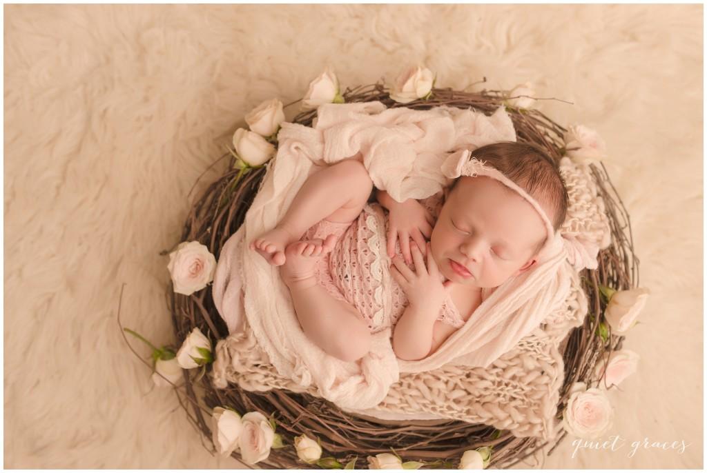 Baby girl sleeping in a Nest Greer SC