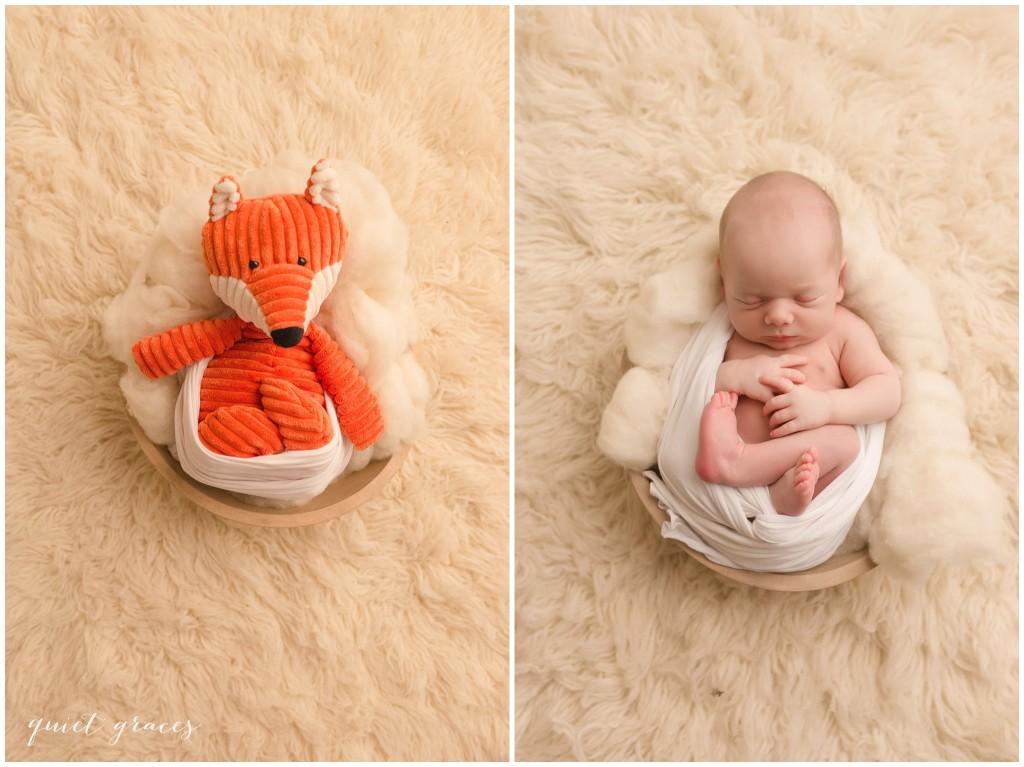 Newborn Baby with Fox Toy