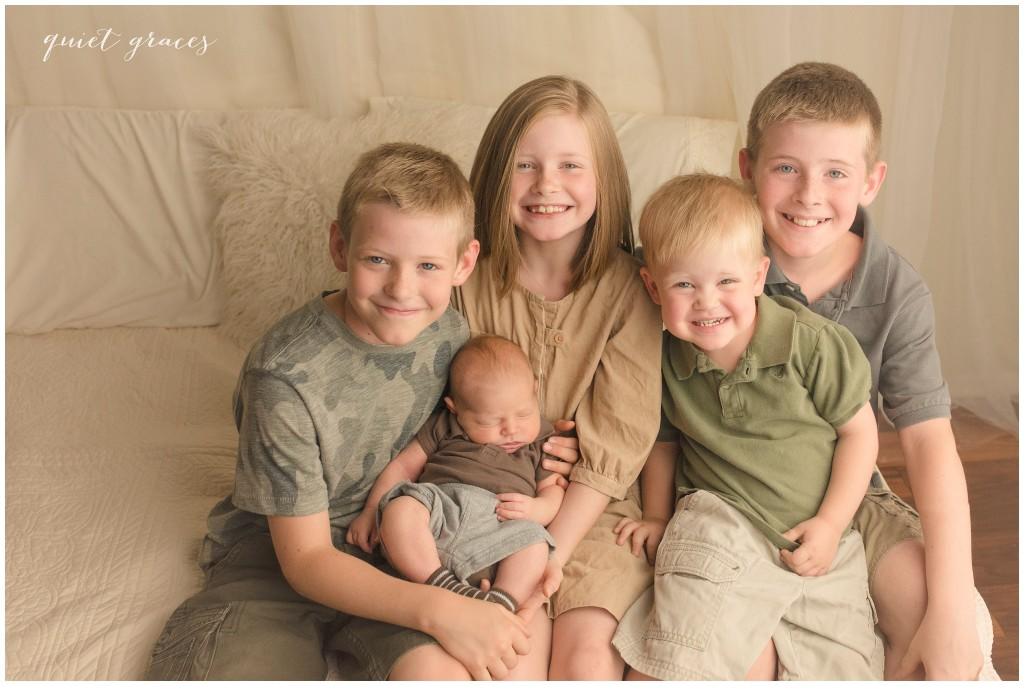 Sibling Studio Picture with Newborn Greenville SC