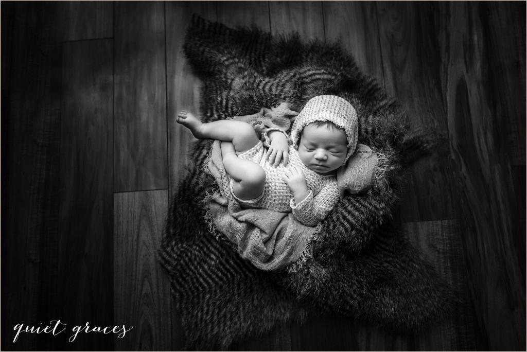 Moody black and white newborn photos Greenville SC