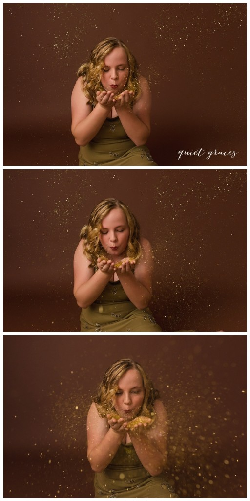 Girl blowing glitter photo session Greenville SC