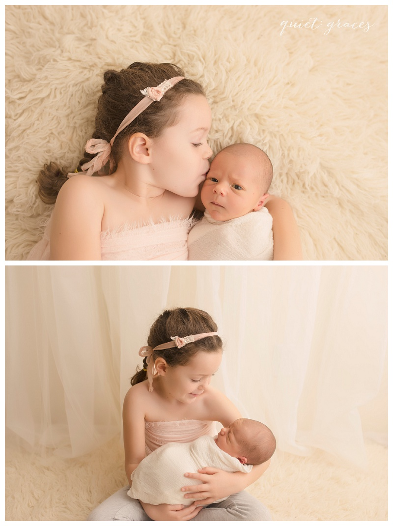 Newborn baby with big sister pictures