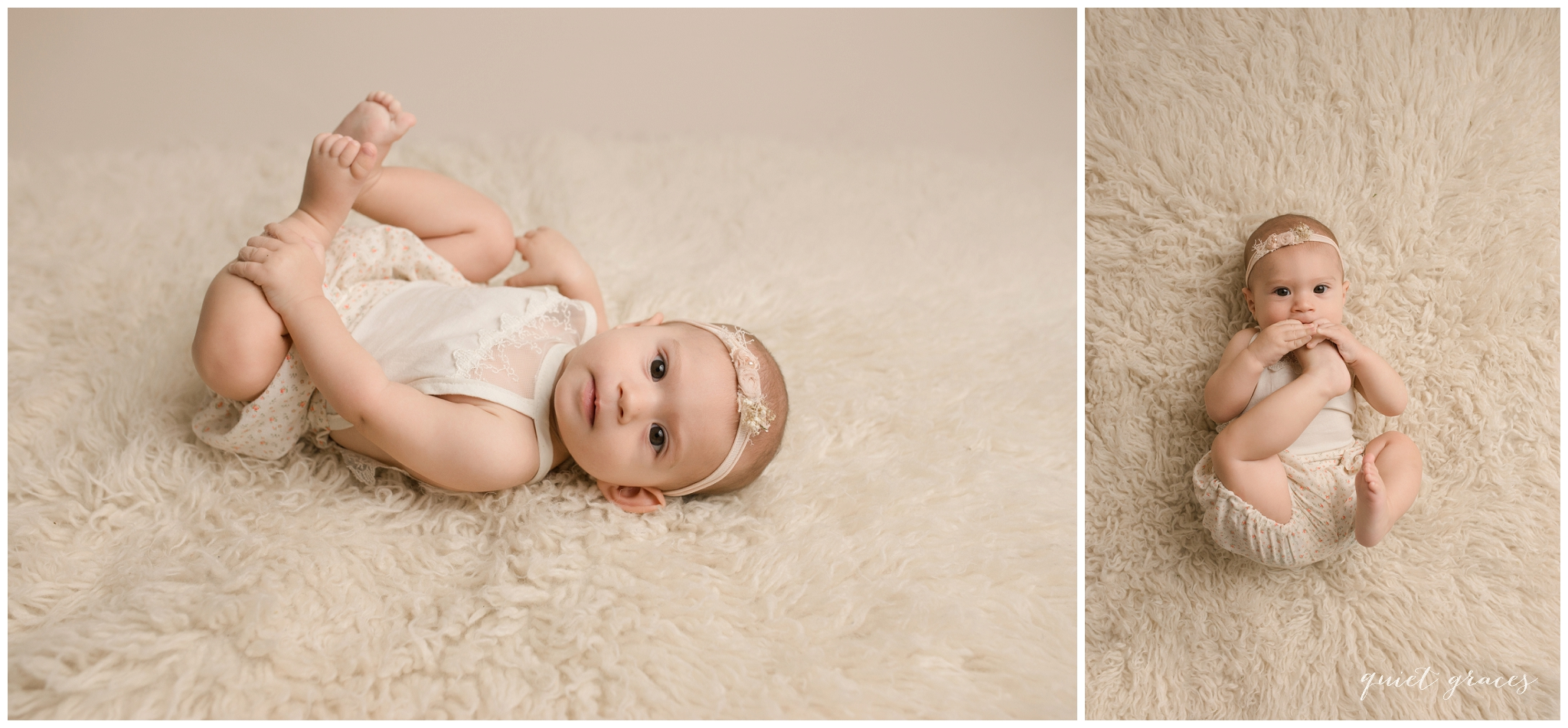 Baby eating her toes studio Portraits Simpsonville SC