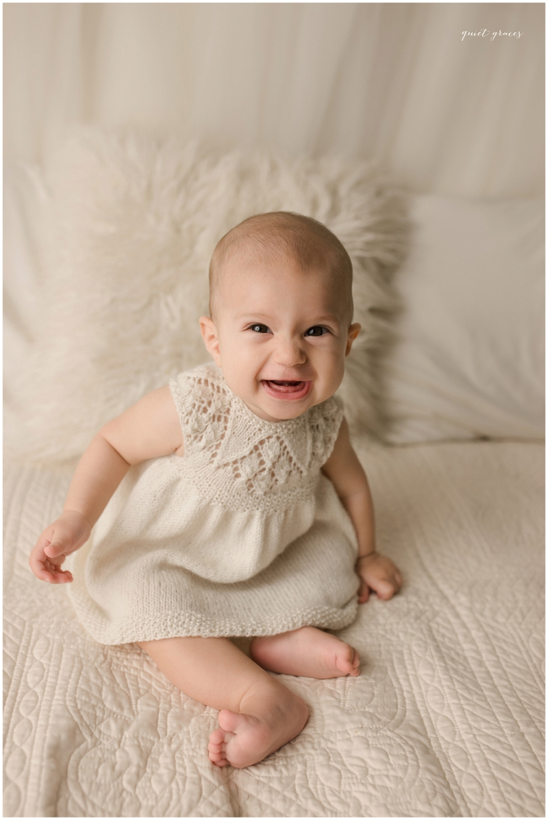 Knitted baby dress formal portrait Greenville SC