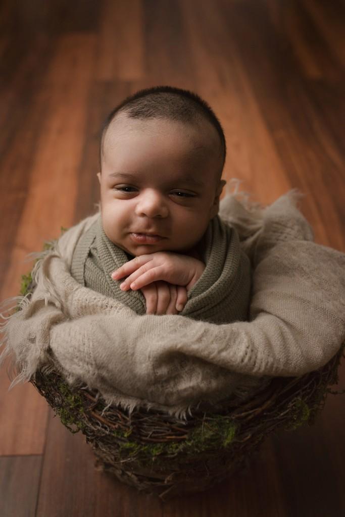 Newborn Baby Boy in a Basket Greenville SC