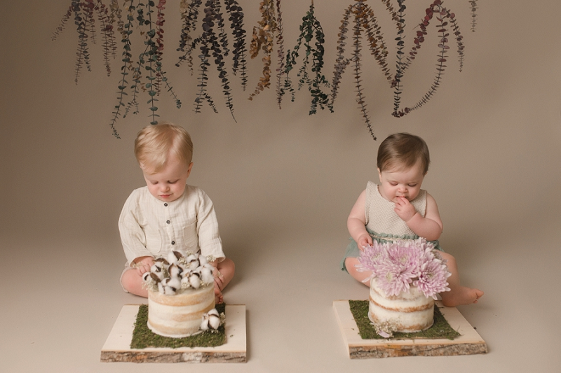 Simple Boy Girl Twin Cake Smash Greenville SC