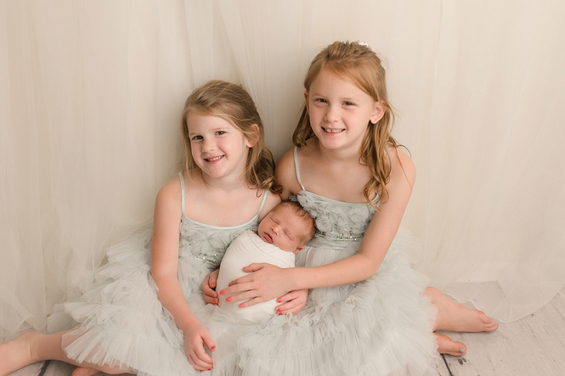 Newborn Baby Photography Brother with Big Sisters Greenville SC