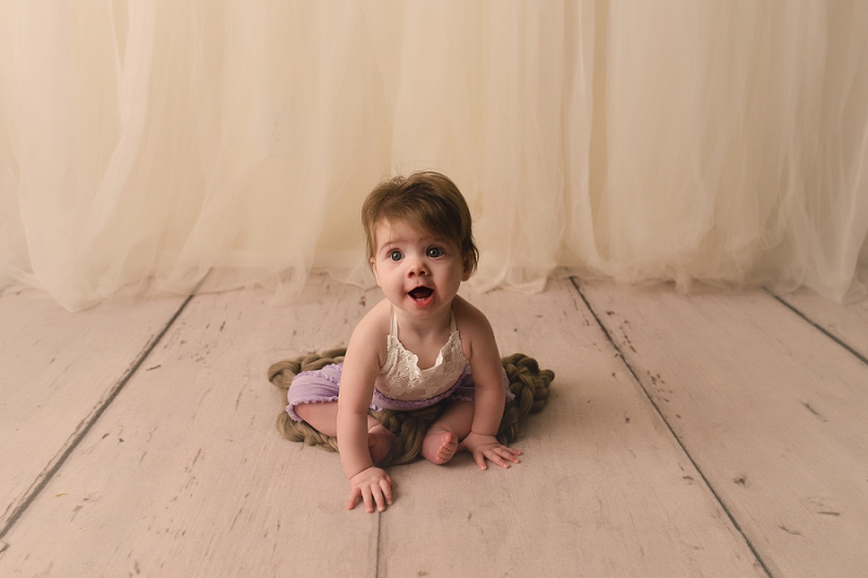 Natural Studio Sitting Milestone 6 month Pictures Greer SC