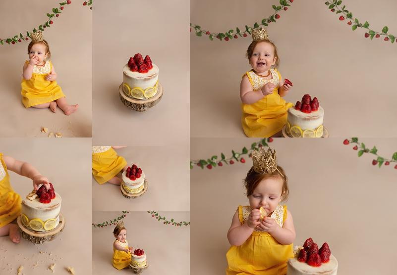 Strawberry Lemonade Girl Cake Smash Simpsonville SC