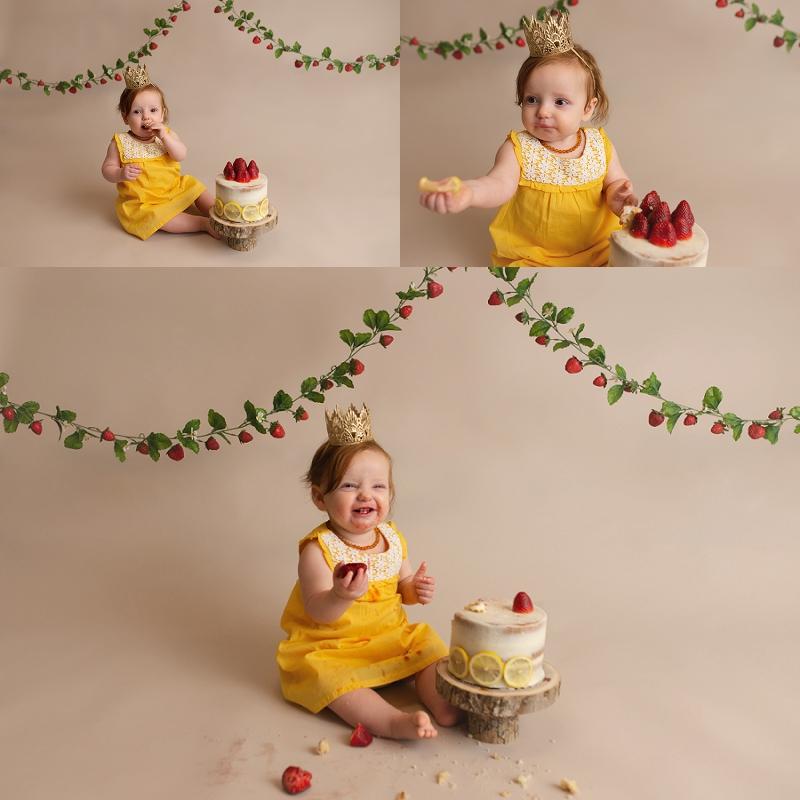 Strawberry Lemonade Girl Cake Smash Greenville SC