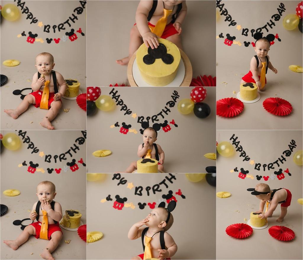 Mickey Mouse Boy Cake Smash Photography Spartanburg SC