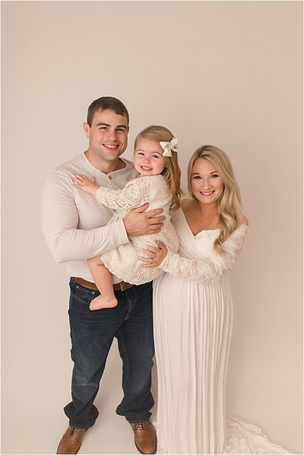Creamy White Backdrop Simpsonville SC Studio Maternity Photography