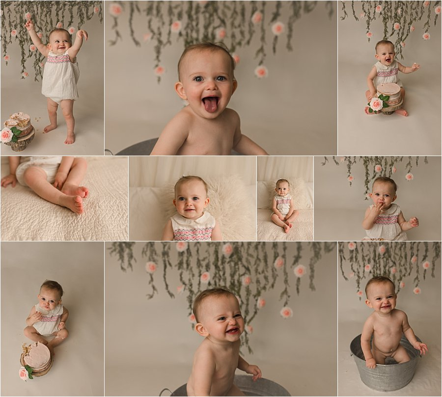 Simple Timeless One Year Cake Smash Photography Simpsonville SC