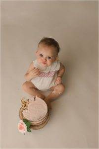 Simple Timeless One Year Cake Smash Photography Travelers Rest SC