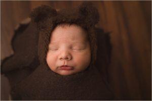 Mauldin SC Newborn Boy Photos with a little bear hat