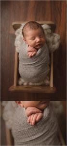 Greenville SC Newborn Boy Photos Baby in a little box bed