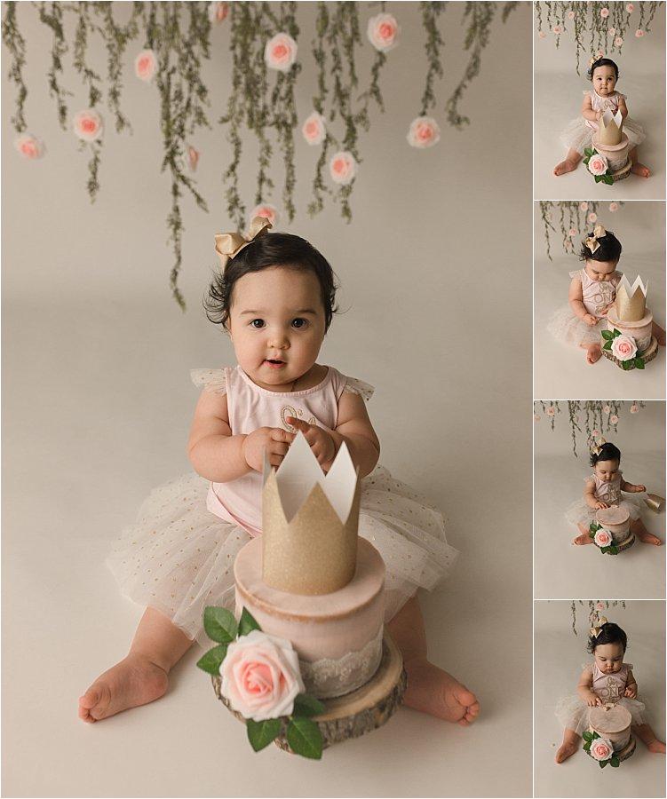Floral Princess Cake Smash Photography Simpsonville SC