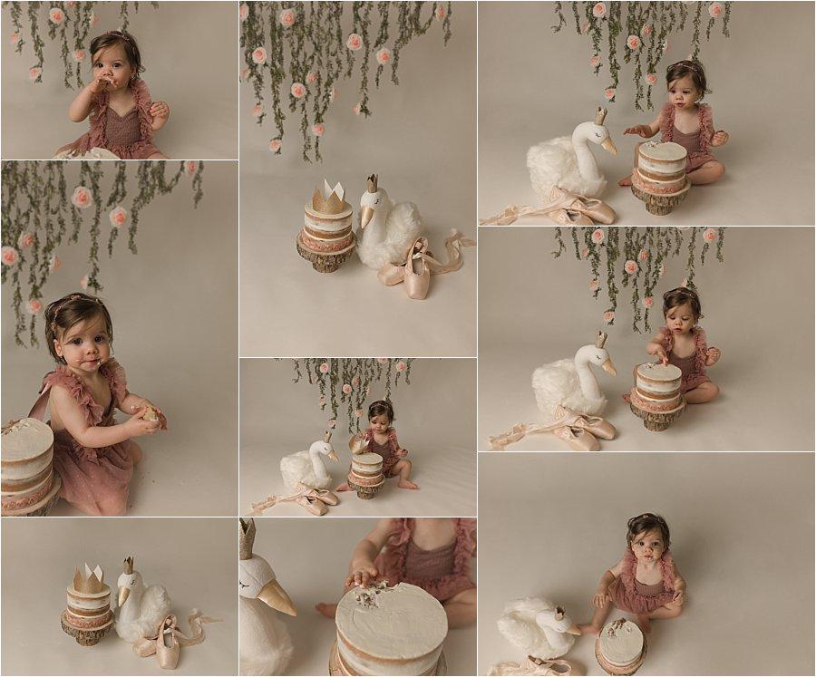 Ballet Themed Cake Smash Photography Greenville SC Swan Lake