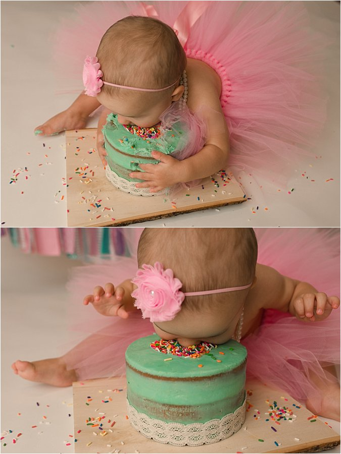 Girly Tutu and Pearls Cake Smash Photography Session Greer SC