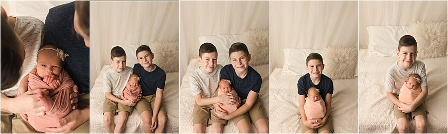 Big Brothers with Newborn Baby pictures in Greer SC