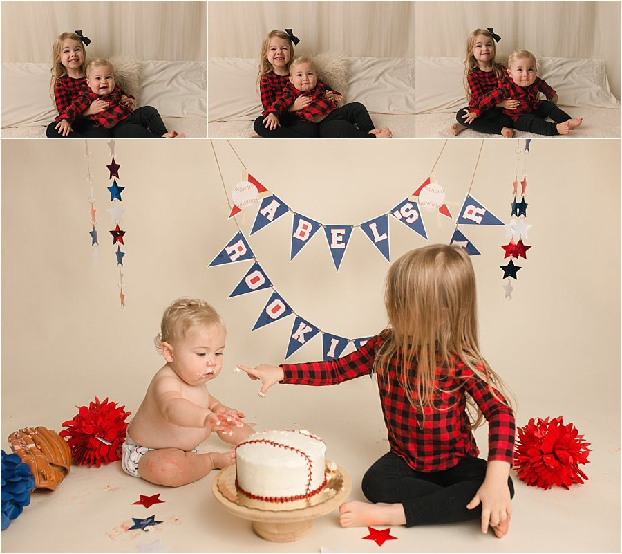 Cake Smash with big sibling pictures in Greenville South Carolina