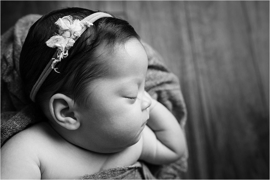 Black and White Newborn Baby Pictures Greenville SC