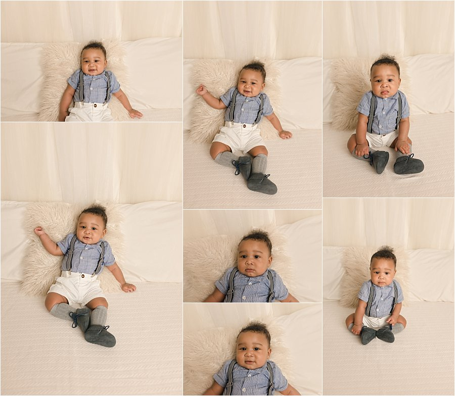Baby Photos on White Bed backdrop in studio Taylors SC
