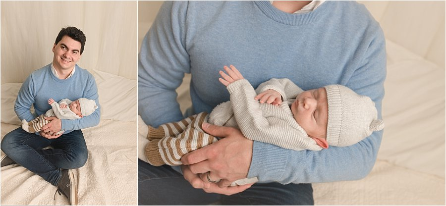 Dad and newborn baby boy pictures in Greenville SC