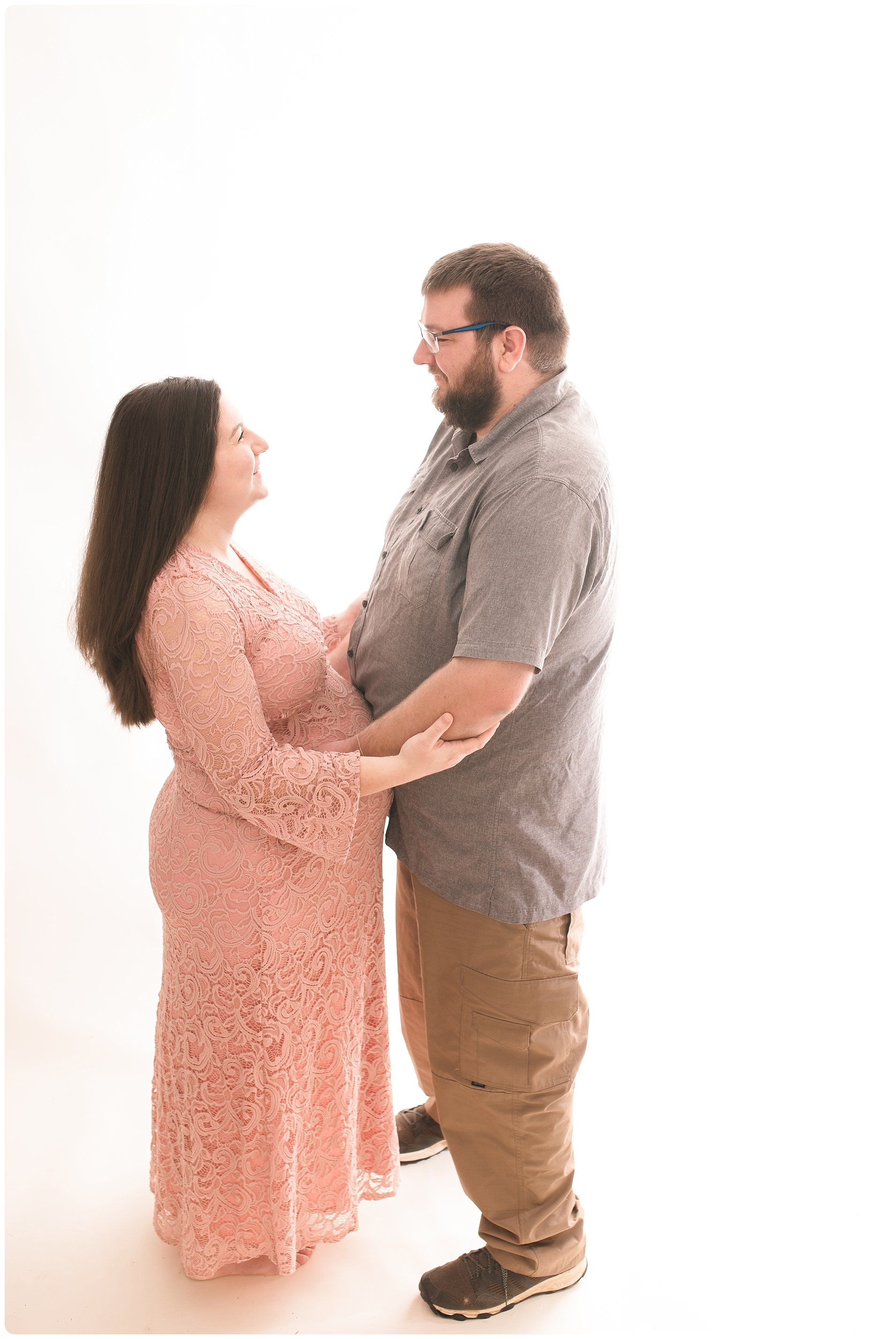 Backlit Maternity Pictures in a Studio. High Key Bright and Light. Greenville SC Maternity Photographer
